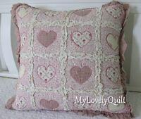 Type B- Heart Shape Applique Ruffled Patchwork Decorative Cushion Cover 45x45cm