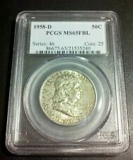 1958 D Franklin Half PCGS MS 65 FBL GEM BU Full Bell lines great toning!