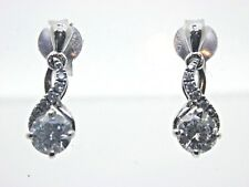 Solitaire diamond drop stud earrings 18 carat white gold butterfly 0.65 cts 1.8g