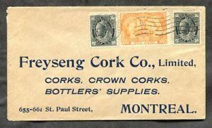 p21- MONTREAL 1905 Freyseng Cork & Bottles Supply Cover. Jubilee & Leaf Franking