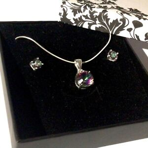 Sterling Silver Mystic Topaz Crystal Pendant & earrings set Valentines Gift