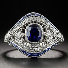 Vintage Art Deco Silver White Topaz Sapphire Evil Eye Finger Ring Jewelry #6-10