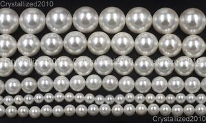 Natural White Oyster Shell Pearls Round Beads 5mm 6mm 8mm 10mm 12mm 14mm 15.5""