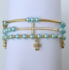 6mm Paraiba Blue Pearl Round Cross Beads Man Made Alloy Bracelet BRPF5