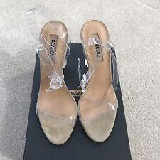 Yeezy Season 2 Lucite PVC Plexi Clear Transparent Sandals Heels Size 38.5