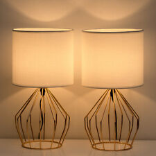 Set of 2 Gold Table Lamps Desk Beside Nightstand Lamp...