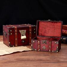 Vintage Wooden Storage Box Jewelry Treasure Pearl Display Organizer Holder