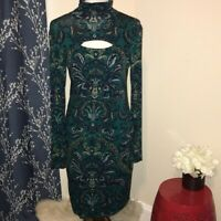 W by Worth Cut-Out Turtleneck Floral Paisley Long Sleeve Dress sz 8
