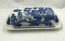 Churchill Blue Willow Covered Butter Dish Staffordshire England Fine English