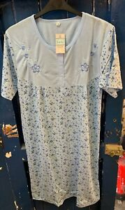 Womens Ladies Short Sleeve Button Front Soft Poly Cotton Nightdress Nightie