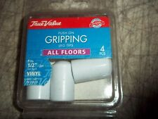 "TRUE VALUE 538163 1/2"" White Vinyl Gripping Leg Tips FURNITURE FLOOR PROTECTION"