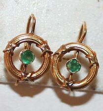 ANTIQUE VICTORIAN FRENCH 18K ROSE GOLD EMERALD NICE SMALL CHILD EARRINGS c 1900