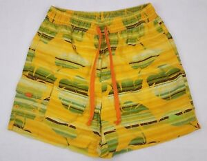 Tommy Bahama Small Swim Trunks Yellow Multicolor Hawaiian Leaves Green Mens Sz S
