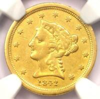 1842-O Liberty Gold Quarter Eagle $2.50 - Certified NGC AU Details - Rare Date!