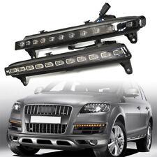 2x Blanc Feux Diurnes LED DRL Fog  le jaune clignotant Pour Audi Q7 07-09