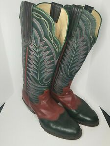 PAUL BOND BOOTS Size 8.5 D Men Handcrafted Cowboy Boots TALL Colorful