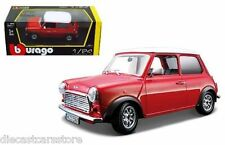 BBURAGO 1969 MINI COOPER 1/24 DIECAST RED with WHITE TOP 18-22011