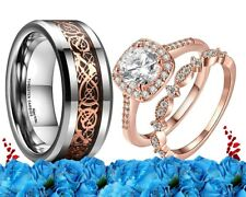 His & Her Wedding Ring Set Dragon Tungten Cz rose gold engagement Matching bands