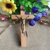 Wooden Wall Cross Crucifix Hanging Catholic Christian Religious Jesus Statue God