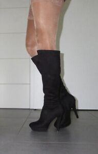 Hochwertige Leder High Heels Plateau Stiefel well worn, Sammler, Liebhaber