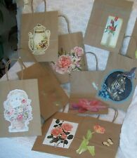 Gift Bags 8 count, hand decorated, 8 x 4.5 x 10.25 in. kraft paper with handles