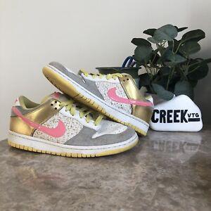 Nike Womens Dunk Low Skate Shoes White Metallic Gold 314141-162 Size 8 Pink SB
