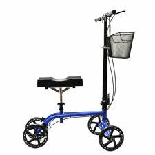 NEW Quad Wheel All Terrain Foldable Medical Knee Walker Scooter Roller, Blue