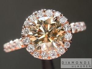 1.08ct Fancy Yellow-Brown Round Diamond Halo Ring GIA R7072 Diamonds by Lauren