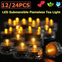 12 24 Led Submersible Battery Waterproof Wedding Decor Party Vase Tea Light
