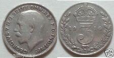 Rare argent massif trois pences 1914 relique de la première guerre mondiale ii pièce ancienne rétro vintage uk