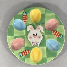 7 In. Ceramic 6 Egg Decorative Dish Easter Bunny Platter