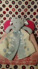 Bunnies by the Bay Blue white Elephant Security Blanket Polka Dots Satin Lovey