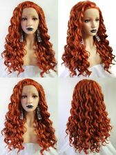 """24"""" Copper Red Heat Resistant Hair Long Curly Lace Front Wig Party"""
