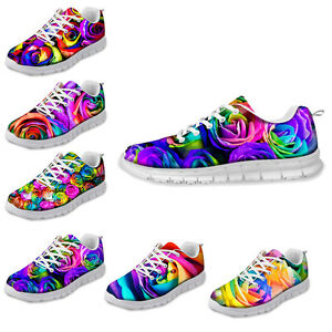 Women's Rainbow Rose Mesh Breathable Trainers Running Tennis Sneaker Lace Up UK8