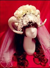 Lolita White Ram Horn Goat Cosplay Headband Veil Costume party Magic Handmade