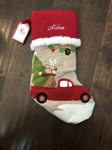 NWT Pottery Barn Kid Woodland Reindeer Red Truck Christmas Stocking Mono Aidan