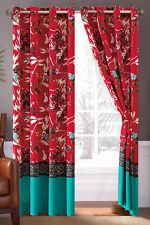 4-P Sachi Tree Branches Silhouette Leaves Birds Floral Curtain Set Turquoise Red