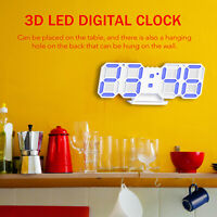 3D LED Digital Clock Electronic Table Clock Alarm Clock Wall Glowing Hanging