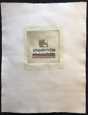 Grande estampe signée Lauttre ? 19,5 cm par  20,5 cm sur papier 65 cm par 50