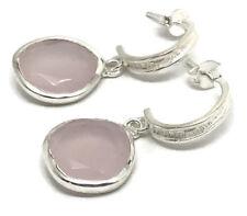 Rose quartz faceted half hoop drop earrings, Solid Sterling Silver. UK Seller