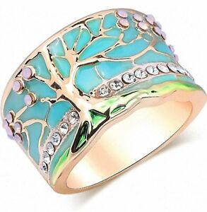 Lucky Flower Tree Rings Gold Pink Opal Green Enamel Wide Ring for Woman Party Cr