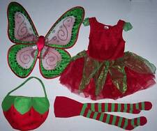 GYMBOREE STRAWBERRY FAIRY COSTUME 3-4 & Pottery Barn Kids treat bag Wings tights