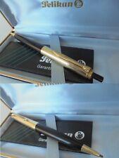 PELIKAN 555 PENNA A SFERA IN ORO ROLLED GOLD e NERA +SCATOLA +GAR Ball pen + Box