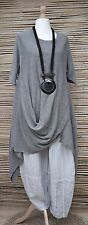 LAGENLOOK*100% COTTON OVERSIZED ASYMMETRICAL QUIRKY JUMPER/TUNIC**GREY*L-XL-XXL