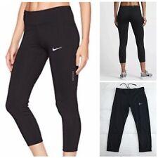 Nike Dri Fit Black Crop Leggings Large Compression Power Essential Running Capri