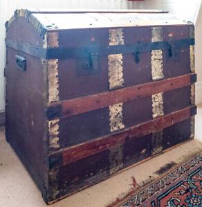 Vintage Domed Wood Steamer Trunk Chest / Blanket Box