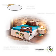 Lit double multi-fonction adulte 2 places 140 x 190 multi-rangement blanc pin...