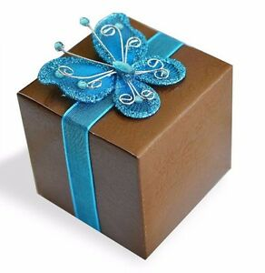 20 Rose Print Chocolate Brown Favor Gift Boxes with Blue Gem Butterfly Ribbon