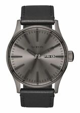 **BRAND NEW** NIXON WATCH THE SENTRY LEATHER GUNMETAL / BLACK A1051531 NIB!