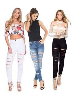 Womens Ladies Stretch Faded Ripped Slim Fit Skinny Denim Jeans Size 6 8 12 14 16